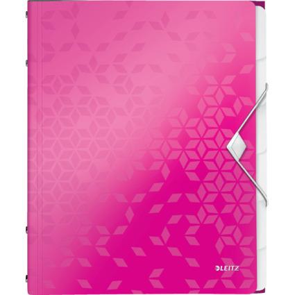 LEITZ Ordnungsmappe WOW, DIN A4, PP, 6 Fächer, pink-metallic