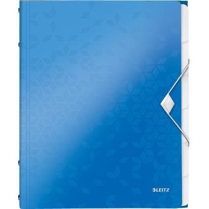 LEITZ Ordnungsmappe WOW, DIN A4, PP, 6 Fächer, blau-metallic