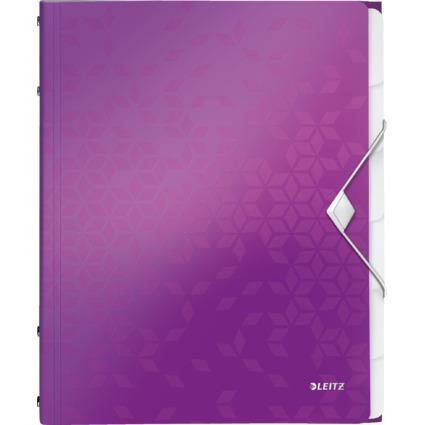 LEITZ Ordnungsmappe WOW, DIN A4, PP, 6 Fächer, violett