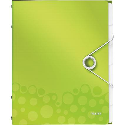 LEITZ Ordnungsmappe WOW, DIN A4, PP, 6 Fächer, grün-metallic