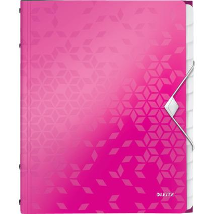 LEITZ Ordnungsmappe WOW, DIN A4, PP, 12 Fächer,pink-metallic