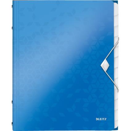 LEITZ Ordnungsmappe WOW, DIN A4, PP, 12 Fächer,blau-metallic