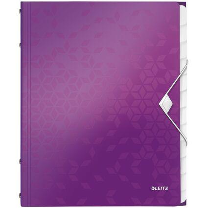 LEITZ Ordnungsmappe WOW, DIN A4, PP, 12 Fächer, violett