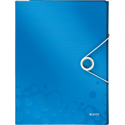 LEITZ Schreibmappe WOW, DIN A4, PP, blau-metallic