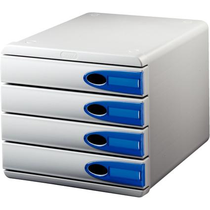 LEITZ Schubladenbox Allura, 4 Schübe, grau/kristall blau