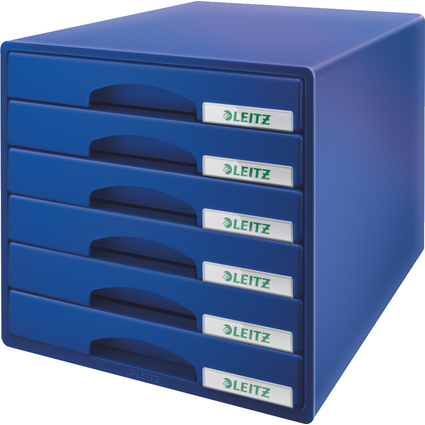 LEITZ Schubladenbox Plus, 6 Schübe, blau