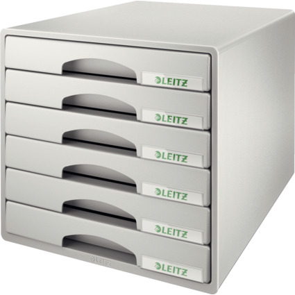 LEITZ Schubladenbox Plus, 6 Schübe, grau