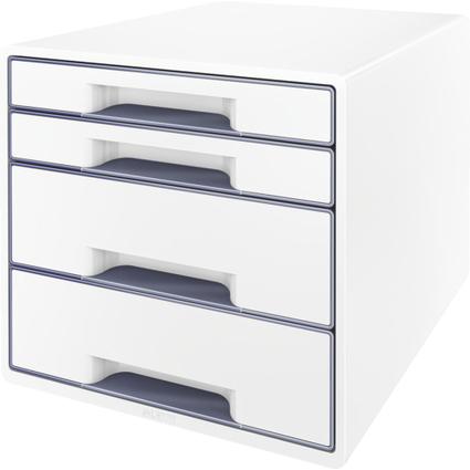 LEITZ Schubladenbox WOW CUBE, 4 Schübe, perlweiß/grau