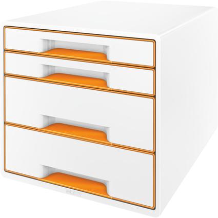 LEITZ Schubladenbox WOW CUBE, 4 Schübe, perlweiß/orange