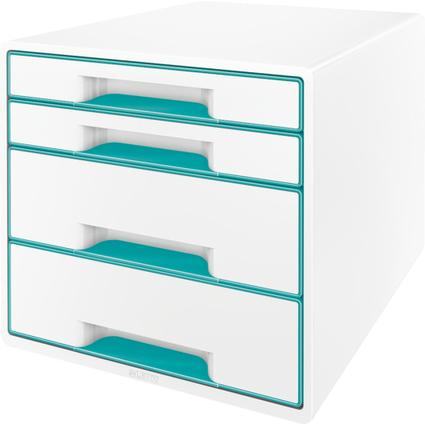 LEITZ Schubladenbox WOW CUBE, 4 Schübe, perlweiß/eisblau