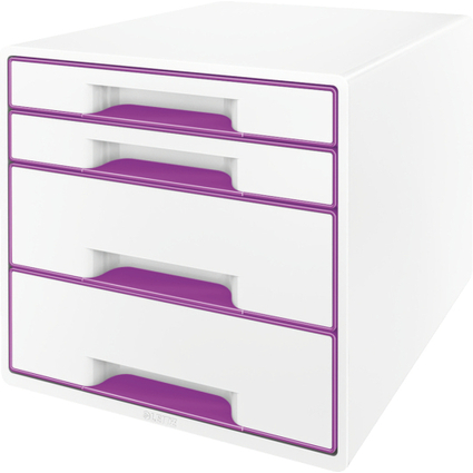 LEITZ Schubladenbox WOW CUBE, 4 Schübe, perlweiß/violett