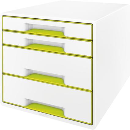 LEITZ Schubladenbox WOW CUBE, 4 Schübe, perlweiß/grün