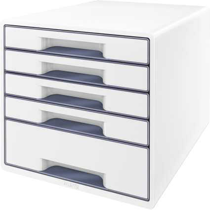 LEITZ Schubladenbox WOW CUBE, 5 Schübe, perlweiß/grau