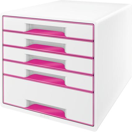 LEITZ Schubladenbox WOW CUBE, 5 Schübe, perlweiß/pink