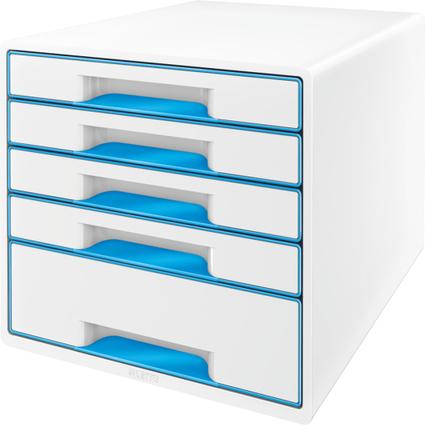 LEITZ Schubladenbox WOW CUBE, 5 Schübe, perlweiß/blau