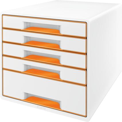 LEITZ Schubladenbox WOW CUBE, 5 Schübe, perlweiß/orange