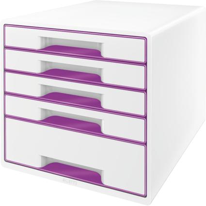 LEITZ Schubladenbox WOW CUBE, 5 Schübe, perlweiß/violett
