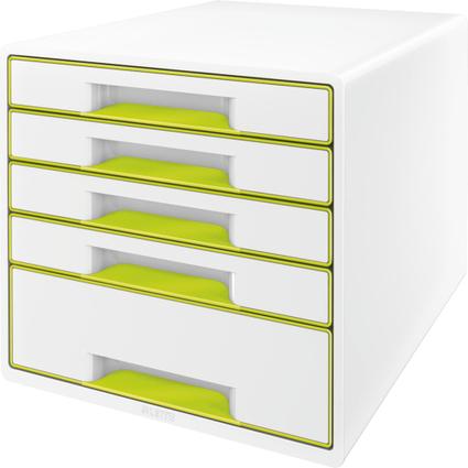 LEITZ Schubladenbox WOW CUBE, 5 Schübe, perlweiß/grün