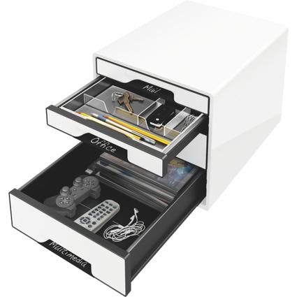 LEITZ Schubladenbox WOW CUBE, 4 Schübe, perlweiß/schwarz