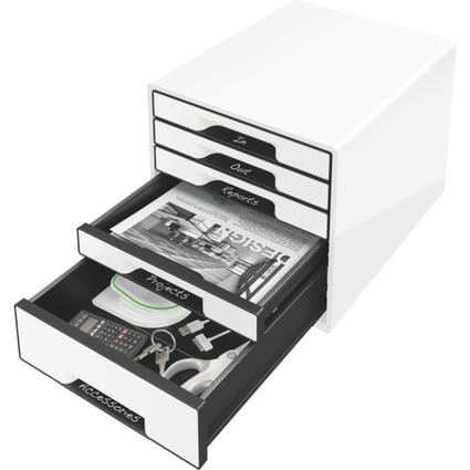 LEITZ Schubladenbox WOW CUBE, 5 Schübe, perlweiß/schwarz