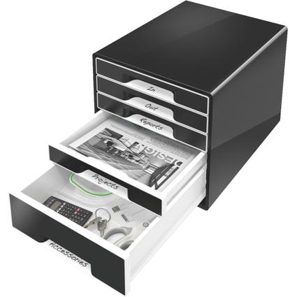 LEITZ Schubladenbox WOW CUBE, 5 Schübe, schwarz/weiß
