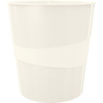 LEITZ Papierkorb WOW, aus Kunststoff, 15 Liter, perlweiß