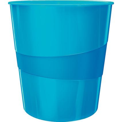 LEITZ Papierkorb WOW, aus Kunststoff, 15 Liter,blau-metallic