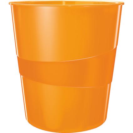 LEITZ Papierkorb WOW, aus Kunststoff, 15 Liter, orange-