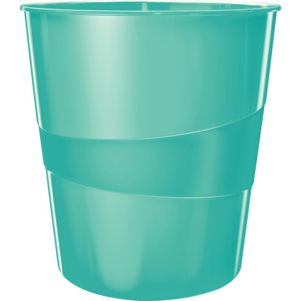 LEITZ Papierkorb WOW, aus Kunststoff, 15 Liter, eisblau