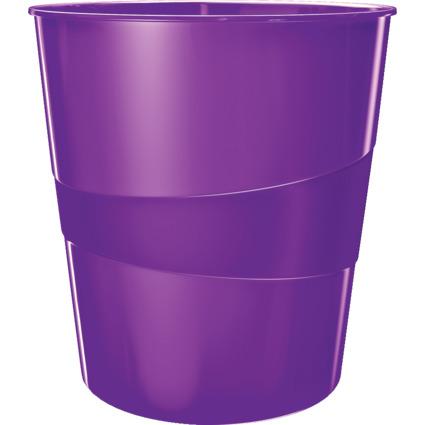 LEITZ Papierkorb WOW, aus Kunststoff, 15 Liter, violett