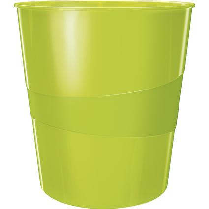 LEITZ Papierkorb WOW, aus Kunststoff, 15 Liter,grün-metallic