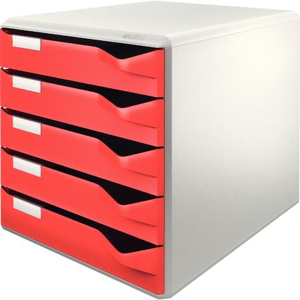 LEITZ Schubladenbox Post-Set, 5 Schübe, lichtgrau/rot