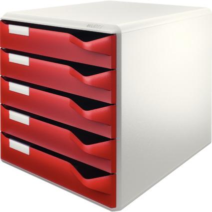 LEITZ Schubladenbox Post-Set, 5 Schübe, lichtgrau/bordeaux