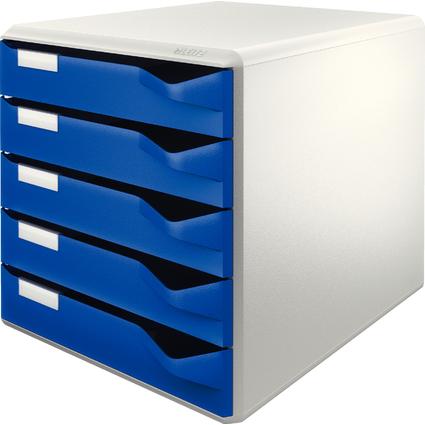 LEITZ Schubladenbox Post-Set, 5 Schübe, lichtgrau/blau