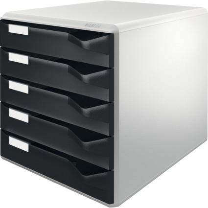 LEITZ Schubladenbox Post-Set, 5 Schübe, lichtgrau/schwarz
