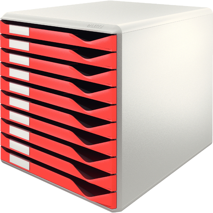 LEITZ Schubladenbox Formular-Set, 10 Schübe, lichtgrau/rot