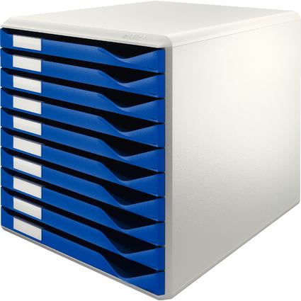 LEITZ Schubladenbox Formular-Set, 10 Schübe, lichtgrau/blau