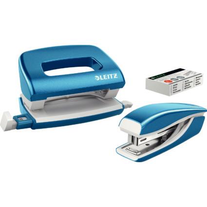 LEITZ Heftgerät- & Locher-Set Mini Nexxt WOW, blau-metallic