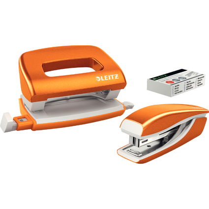 LEITZ Heftgerät- & Locher-Set Mini Nexxt WOW,orange-metallic