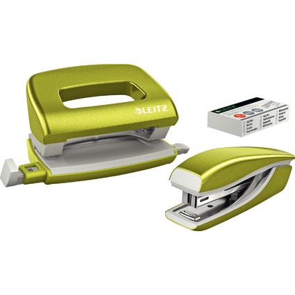 LEITZ Heftgerät- & Locher-Set Mini Nexxt WOW, grün-metallic