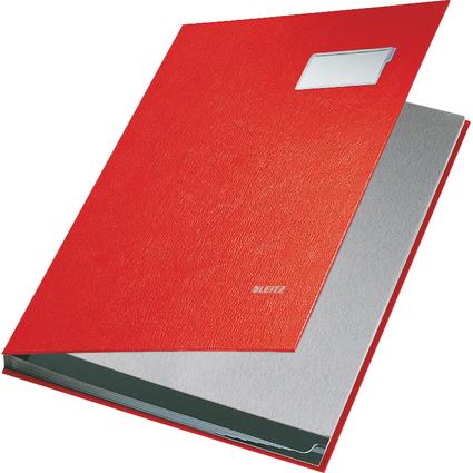 LEITZ Unterschriftenmappe, PP-Überzug, 10 Fächer, rot