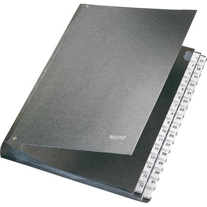 LEITZ Pultordner, A4, 1-31, 32 Fächer, Hartpappe, schwarz