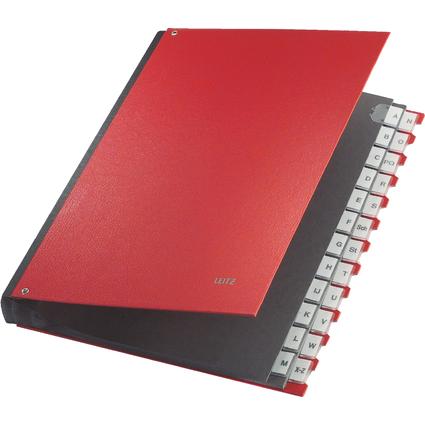 LEITZ Pultordner, A4, A-Z, 24 Fächer, Kunststoff, rot