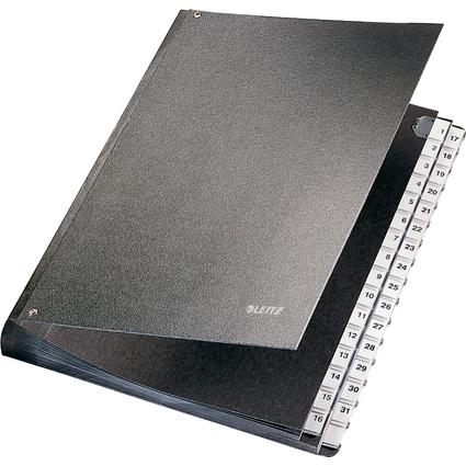 LEITZ Pultordner, A4, 1-31, 32 Fächer, Kunststoff, schwarz