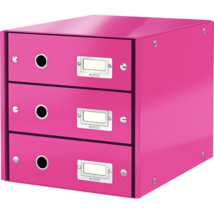 LEITZ Schubladenbox Click & Store WOW, 3 Schübe, pink
