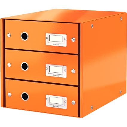 LEITZ Schubladenbox Click & Store WOW, 3 Schübe, orange