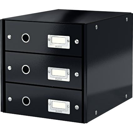 LEITZ Schubladenbox Click & Store, 3 Schübe, schwarz