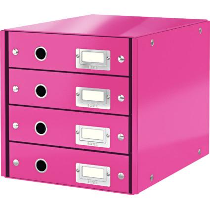 LEITZ Schubladenbox Click & Store WOW, 4 Schübe, pink