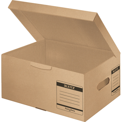 LEITZ Archiv-Klappdeckelbox Fast & Easy, DIN A4+, naturbraun
