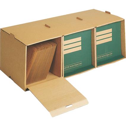 LEITZ Archiv-Container, 3 Fächer, aus Wellpappe, natron